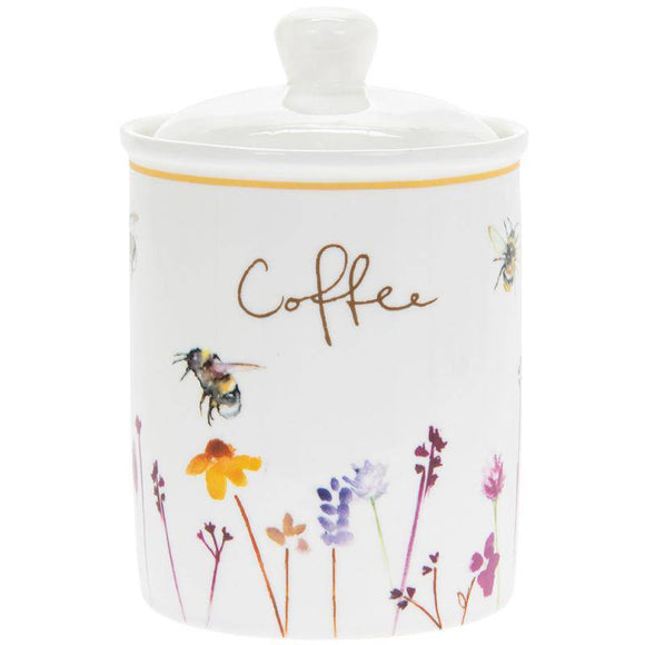 Busy Bees Fine China Coffee Canister. Made from Bone China this delightful design is a welcome addition to any home. This fun and homely Busy Bees Tea Canister is decorated with an array of colours. The Jennifer Rose collection has captured these busy Bees hovering above beautiful wildflowers/Giftworks