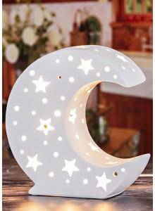 A stunning crescent moon night light, this ceramic lamp is decorated with stars and pin hole craters/Giftworks, Ennis&Galway