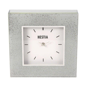 Grey and Glitter Glass Mantel Clock A stylish glass grey mirrored mantel clock with silver glitter design from the HESTIA® Silver Luxe collection/Giftworks, Ennis&Galway