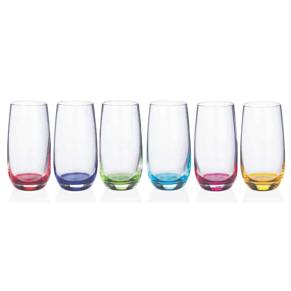 New-grange Living Party Hi-Ball Glass Add a beautiful range of colour to your kitchen with these Rainbow Party Hi-Ball Glasses from Newgrange/Giftworks, Ennis&Galway