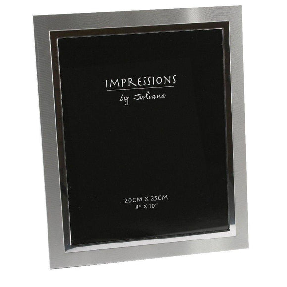 A beautifully simple two-tone brushed and polished aluminium photo frame from IMPRESSIONS® by Juliana. Featuring luxury black velveteen backing/Giftworks, Ennis&Galway