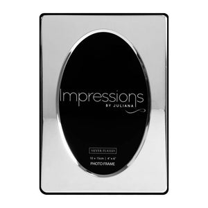 "Give a precious photo its chance to shine with this engravable silverplated 4"" x 6"" oval aperture frame. From IMPRESSIONS®/Giftworks, Ennis&Galway"