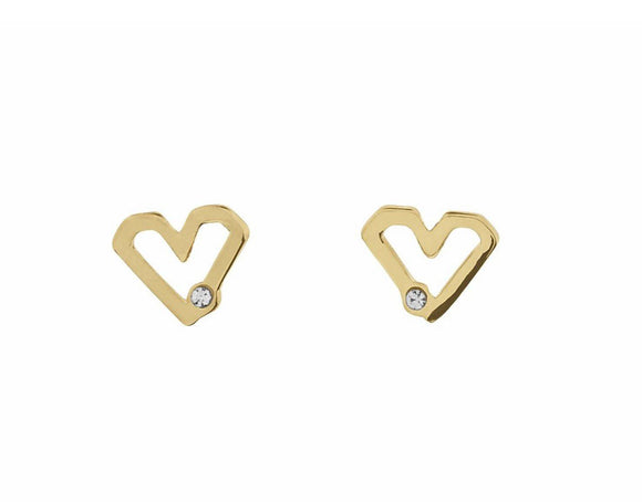 Indulgence Heart Stud Earrings She'll know exactly where your heart lies once you present her with these dainty stud earrings/Giftworks, Ennis&Galway
