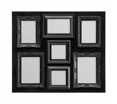 Black Contemporary 7 Photo Frame/A beautiful way to personalise your home, our chic black 7 photo multi-frame is the perfect way to display your favourite captured moment on your wall/Giftworks, Ennis&Galway