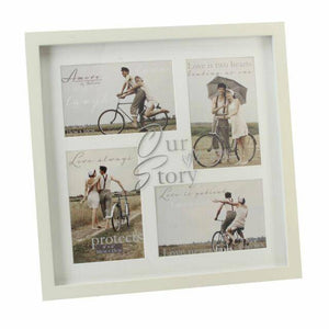 An Amore multi aperture wedding photo frame with four apertures. Create everlasting memories with a unique and beautiful gift to celebrate the most special of occasions/Giftworks
