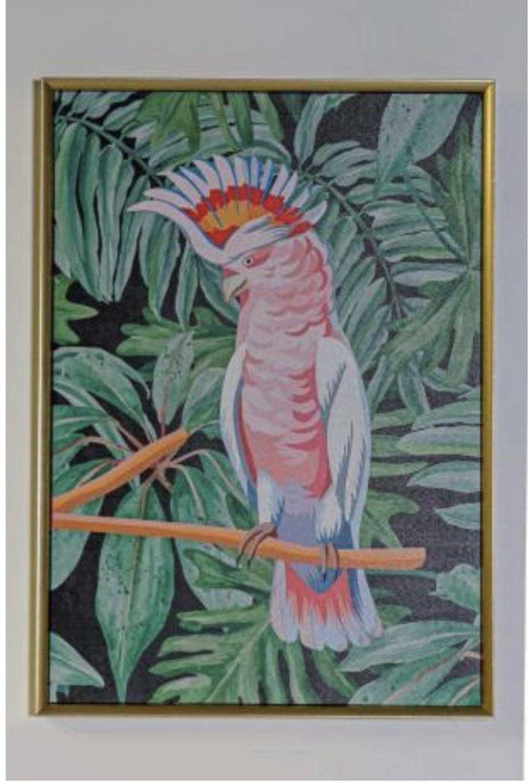 Pink Bird Gold Framed Canvas Tropical decor is one of the most popular choices for contemporary homes/Giftworks, Ennis&Galway