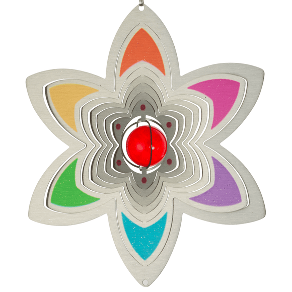 Flower Rainbow 200 Spinner. Designed to help twist, turn, twirl, and bring more swirl to your world. The combination of slightly glittering stainless steel elements in conjunction with the color-painted petals creates a unique visual effect.