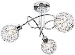 The Largo 3 light semi flush ceiling fitting features a circular design ceiling plate. It has swirling arms holding 3 spheroid shaped shades made up of a polished chrome frame work and crystal buttons/Giftworks