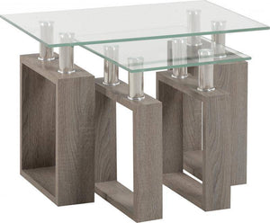 Milan Nest of Tables in Light Charcoal/Clear Glass/Silver/GiftworksStores, Ennis&Galway
