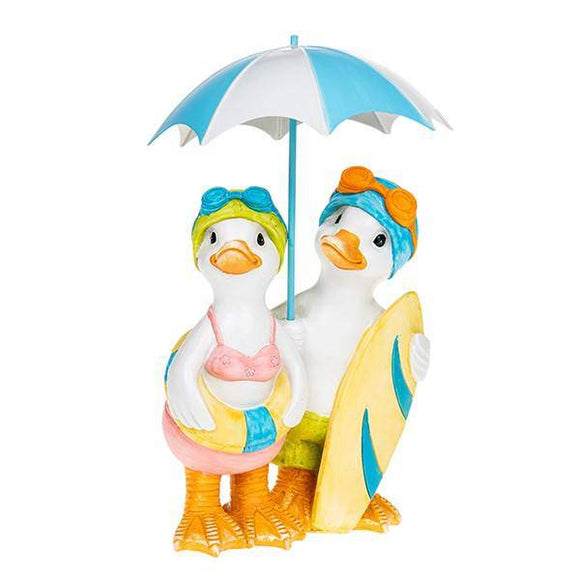 Lido Duck Standing Pair With Brolly Bring the beach vibes to your indoors or outdoors/Giftworks, Ennis&Galway