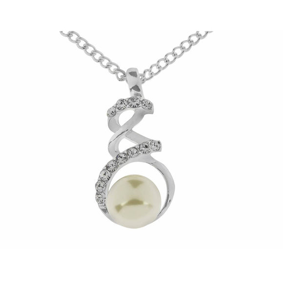 Indulgence Jewellery Necklace Elegant and gently curving shapes distinguish this interwoven twist Crystal Necklace with pearl from Indulgence. A perfect gift for any occasion, or as a treat for yourself/Giftworks, Ennis&Galway