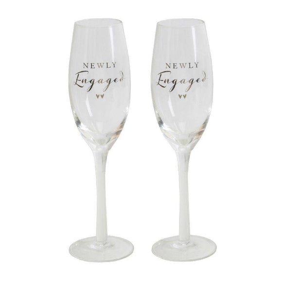 Newly Engaged Flute Set A beautiful pair of 'Newly Engaged' champagne flutes, from AMORE BY JULIANA®/Giftworks, Ennis&Galway