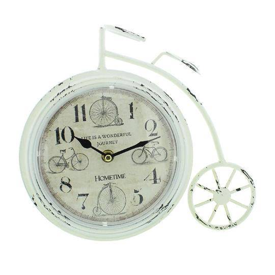 Mantel Clocks -Hometime Rustic Penny Farthing Clock- White - Giftworks