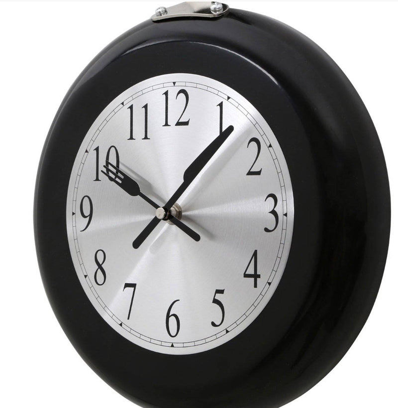 Clocks for Kitchen Black Frying Pan Design Wall Clock - Giftworks