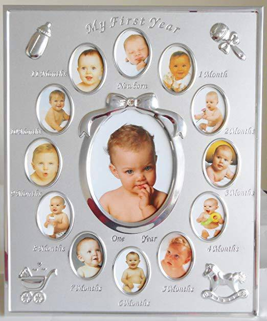 A silver baby's first year photo frame from Celebrations. Every parent loves to capture countless photos of their newborn, making this adorable photo frame the perfect gift to give/Giftworks