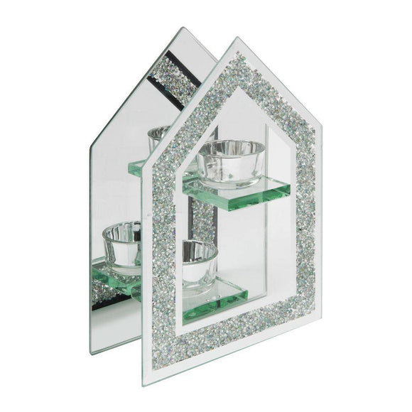Crystal Border Glass Double Tea-Light Holder
