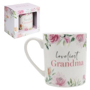 Loveliest Grandma Floral Mug is a fabulous keepsake gift idea for that very special Grandma whatever the occasion/Giftworks