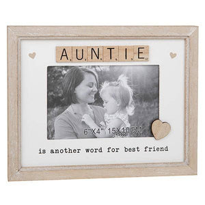 Scrabble Rustic Frame Auntie This light wooden frame with a white background has wooden scrabble letters spelling out the word 'Auntie'/Giftworks, Ennis&Galway
