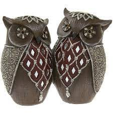 Artistic Brown and Silver Decorated Elephant Owl Figurine