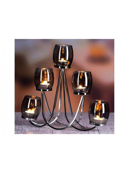 THE GRANGE COLLECTION METAL CANDLEHOLDER WITH 5-PIECE GREY GLASS CUPS - Giftworks