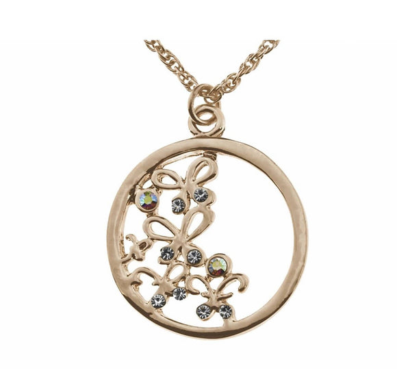 Indulgence Jewellery Necklace This gold pendant is embellished with a elegant intricate butterfly design. Feminine and stylish/Giftworks, Ennis&Galway
