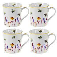 Busy Bees Wild Flowers Mugs Set of 4 - Giftworks