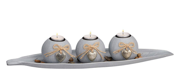 Beautiful grey tea-light holder in a leaf shape with 3 spherical balls with decorative hearts are ideal to create a cozy atmosphere in your home/Giftworks, Ennis&Galway