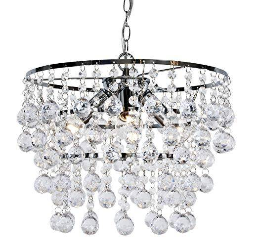 Brighten up your space with The London sparkling flush fixture. Delicate clear raindrop and ball crystals drape in a waterfall-like fashion for chandelier elegance on your ceiling. With a chrome finish, this eye-catching Chandelier light fixture provides your home with glitz and glamour/Giftworks