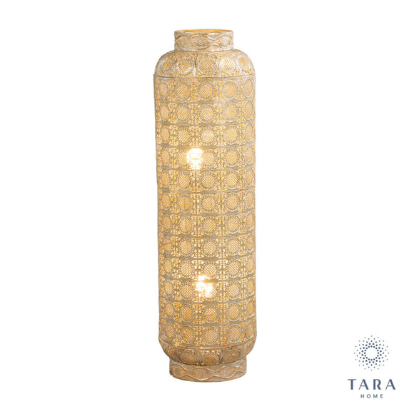 Amira floor lamp gold. Part of the Tara Living collection. The Amira gold floor lamp has a significant moroccan influence/Giftworks,Ennis&Galway
