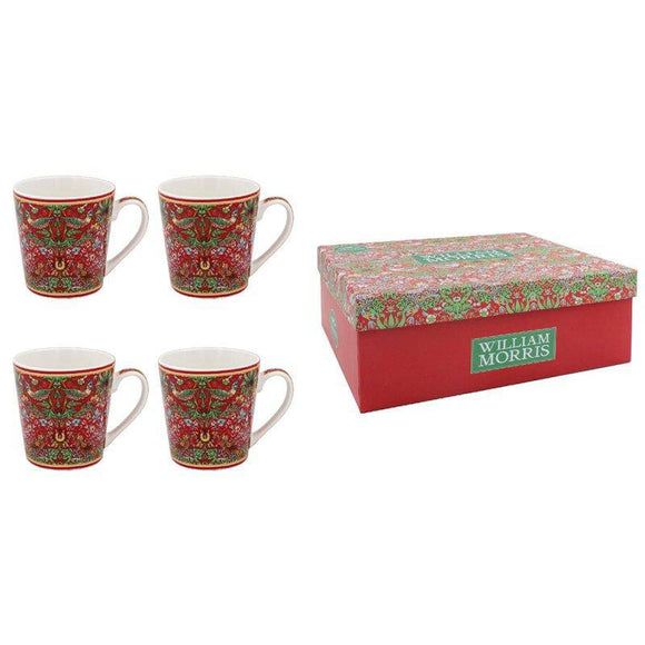 Strawberry Thief Red Mugs, A bone china mug decorated with the Strawberry Thief pattern from the archive of Arts and Crafts artist and designer William Morris/Giftworks, Ennis&Galway
