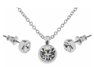 Indulgence Jewellery Necklace A single, striking circle pendant set with crystal. The chic charming set includes a necklace and earrings/Giftworks, Ennis&Galway
