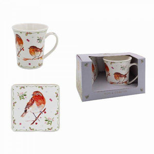 Robin Mug and Coaster Set The robin is the commonest bird recorded in Irish gardens. Many believe they have been given signs that their relatives are still around which makes this Winter Robin set a thoughtful gift/Giftworks, Ennis&Galway
