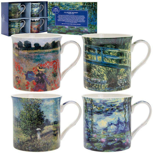 This set of Claude Monet inspired set of 4 mugs showcase four of his most renowned pieces of artwork/Giftworks, Ennis&Galway