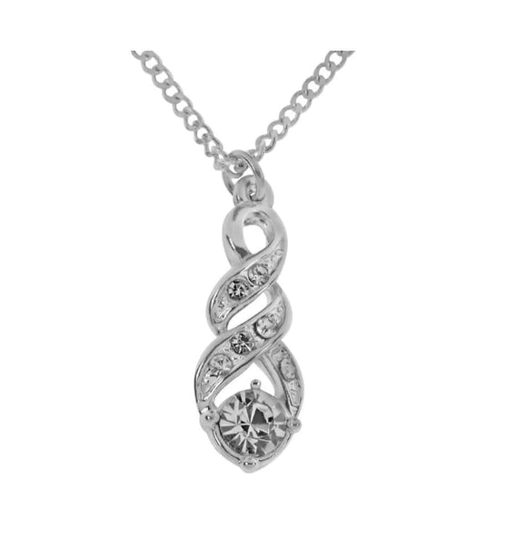 Indulgence Jewellery Necklace Elegant and gently curving shapes distinguish this interwoven twist Crystal Necklace from Indulgence/Giftworks, Ennis&Galway
