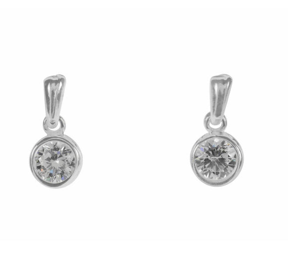 Rhodium Drop CZ Crystal Earrings