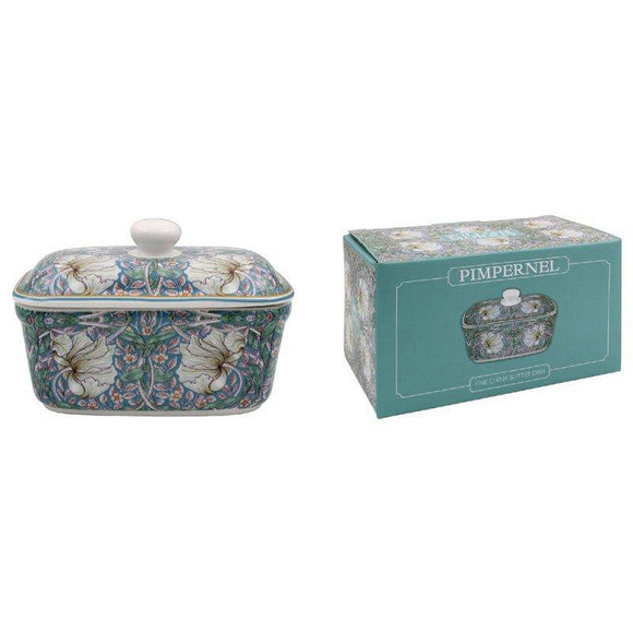 The Leonardo Collection William Morris Pimpernel Floral Butter Dish/Giftworks, Ennis&Galway