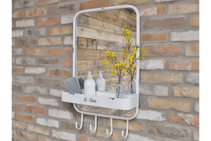 Industrial style mirror with shelve and hooks take on a whole new function both stylish yet practical piece perfect for your hallway or bathroom/GiftworksStores, Ennis&Galway