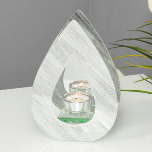 Teardrop Tea-Light Holder A mirror glass single teardrop tealight holder, with abstract detailing/Giftworks, Ennis&Galway