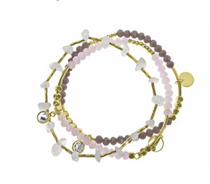 Indulgence Jewellery Bracelet Three bracelets make one beautiful bracelet. Featuring alternating spacer beads with multifaceted accents in neutral tones/Giftworks, Ennis&Galway