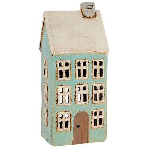 Village Pottery Tall Blue House Tealight - Giftworks