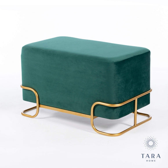 Tivoli emerald Green Velvet Stool