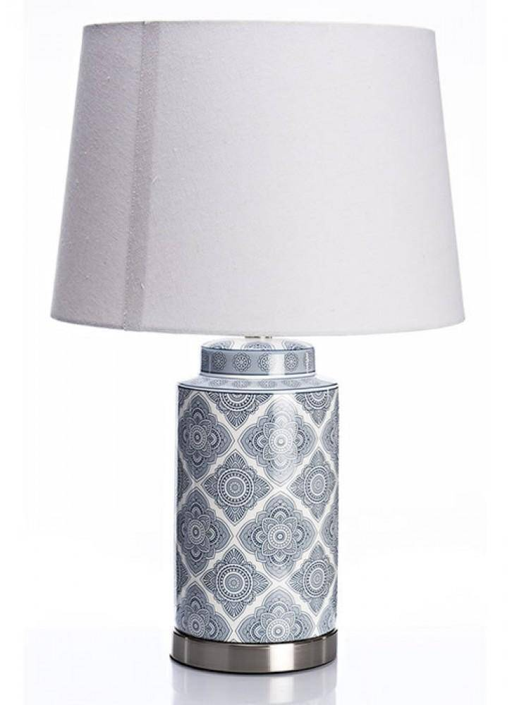 The Grange Collection Ceramic Blue and White Table Lamp - Giftworks