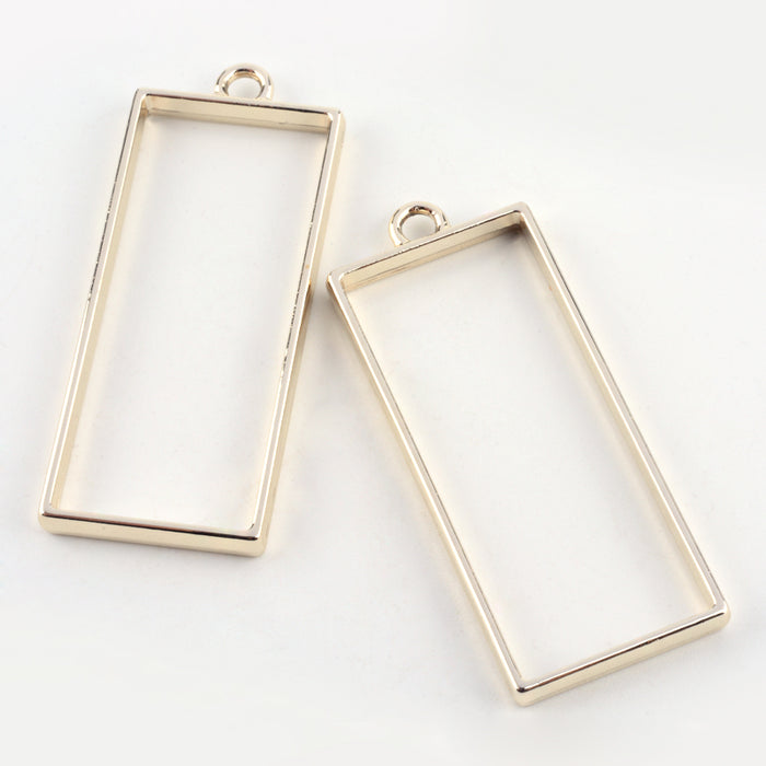 Rectangle Shaped Open Back Bezel Pendants, 49mm - 2 Pack