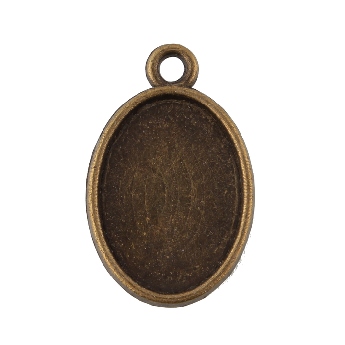 Antique Bronze Two side Pendant Trays, 18mm x 13mm Insert - 3 pack