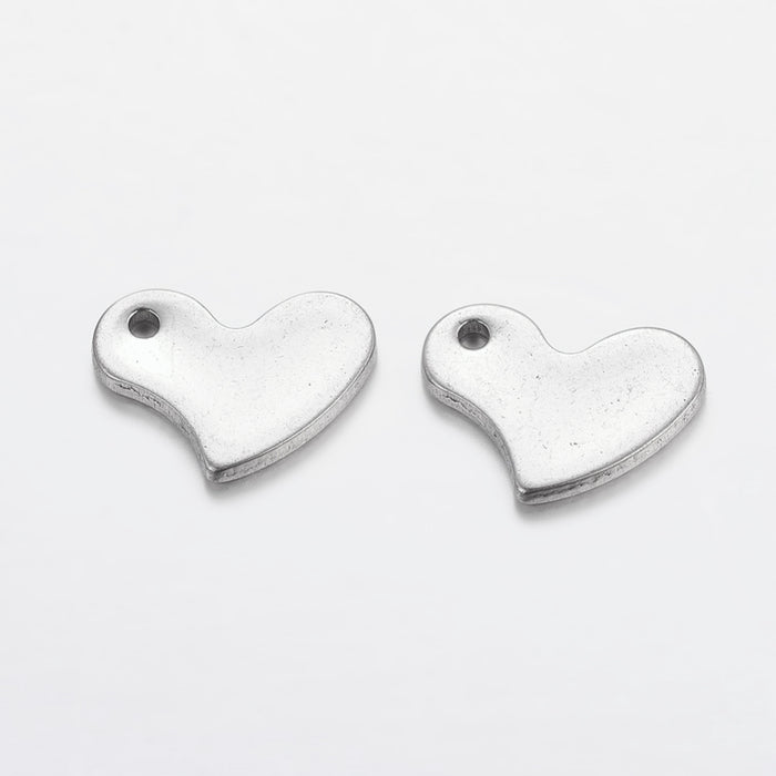 Stainless Steel Heart Tag Charms, 11mm - 10 Pack