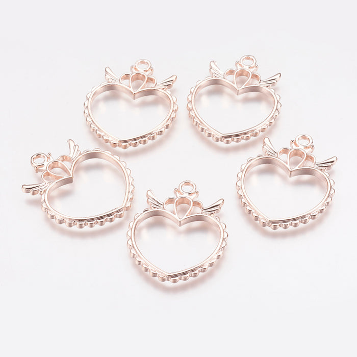 Heart Shape Open Back Bezel Pendants, 36mm - 2 Pack