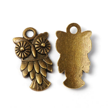 Owl charms in antique bronze finish