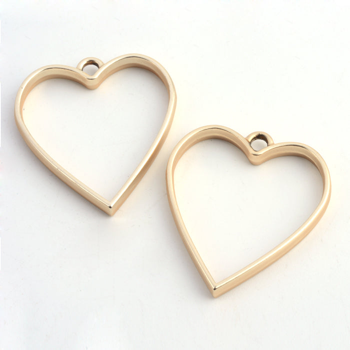 Heart Shape Open Back Bezel Pendants, 34mm - 2 Pack