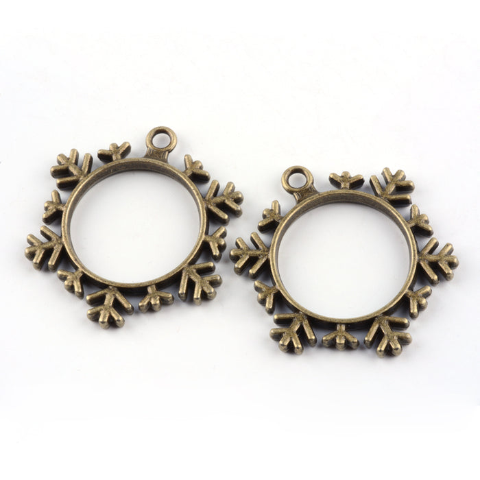 bronze colour open jewelry bezels with snowflake design
