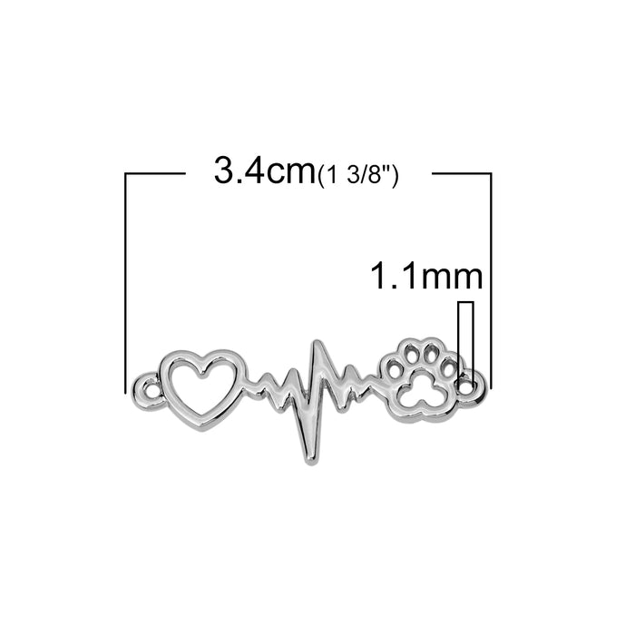 Heartbeat with Heart and Paw Print Connector Charms, 34mm - 5 pack